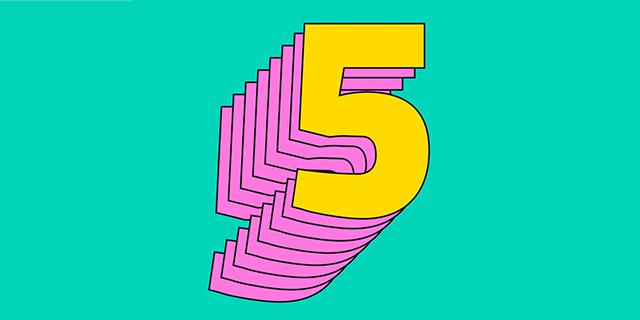 image: a number 5 in bright colours